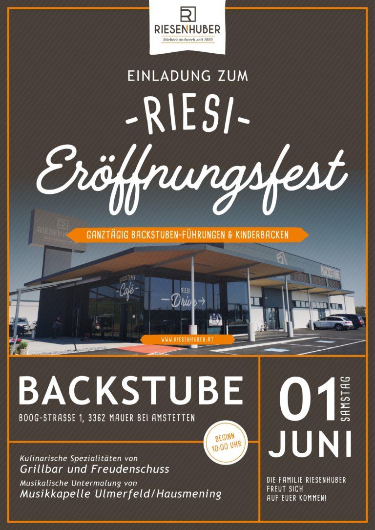 Einladung zum Eröffnungsfest Backstubencafé Riesenhuber