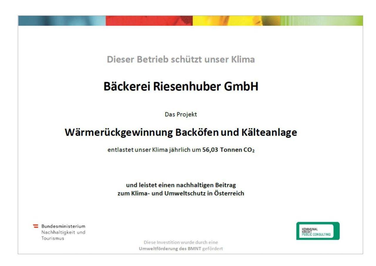 Zertifikat zur Wärmerückgewinnung von Backöfen und Kälteanlagen